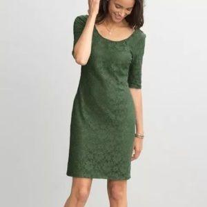 Banana Republic Green Lace Overlay Bodycon Dress